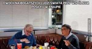 Dwóch najbogatszych ludzi świata przy wspólnym posiłku w knajpie