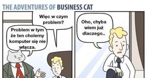 Biznesowy kot i problem z komputerem