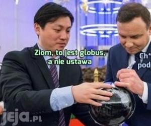 Podpis na globusie