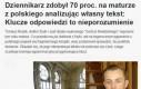 Dziennikarz analizował własny tekst na maturze z polskiego