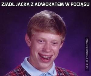 Zjadł Jacka z adwokatem w pociągu