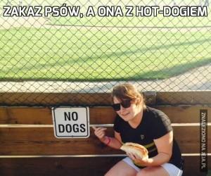 Zakaz psów, a ona z hot-dogiem