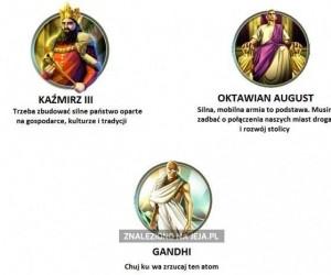 Różne postawy władców