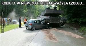 Kobieta w Niemczech nie zauważyła czołgu...