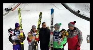 Zwycięzca konkursu w Wiśle (trzeci od lewej)