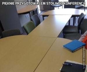 Pięknie przygotowałem stoły do konferencji