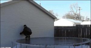 Majestatyczny skok na zmrożoną trampolinę