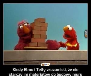 Kiedy Elmo i Telly zrozumieli, że nie starczy im materiałów do budowy muru