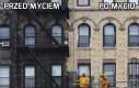 Okopcony budynek w Nowym Jorku