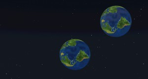 Symulacja kolizji pomiędzy dwoma ziemiami