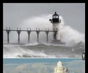 Latarnia morska przed i po zimowym sztormie