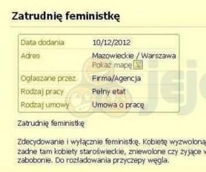 Zatrudnię feministkę