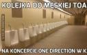 Kolejka do męskiej toalety