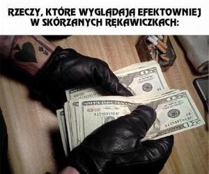 Skórzane rękawiczki atrybutem gangstera