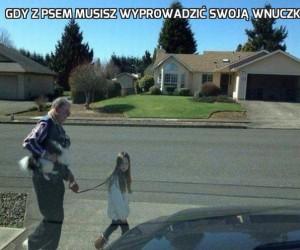 Gdy z psem musisz wyprowadzić swoją wnuczkę
