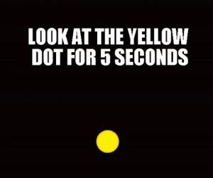 Patrz na żółtą kropkę przez 5 sekund