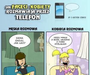 Męskie i kobiece rozmowy przez telefon