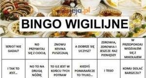 Wigilijne bingo, warto wydrukować przed świętami
