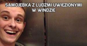 Samojebka z ludźmi uwięzionymi w windzie