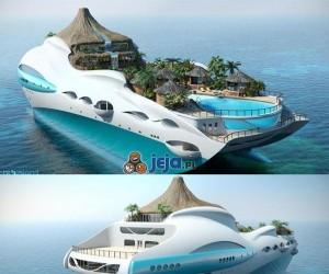Tropikalna wyspa na łodzi