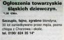 Ogłoszenia towarzyskie śląskich dziewczyn