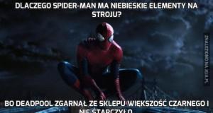 Dlaczego Spider-Man ma niebieskie elementy na stroju?
