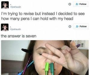 Ile długopisów zmieścisz na głowie?