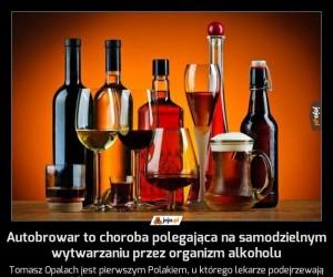 Autobrowar to choroba polegająca na samodzielnym wytwarzaniu przez organizm alkoholu