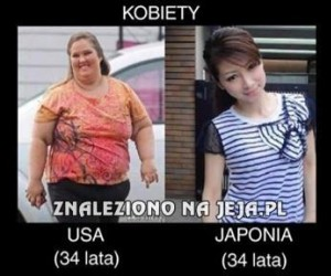 Kobieta z USA vs kobieta z Japonii