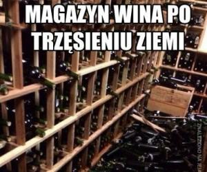 Magazyn wina po trzęsieniu ziemi