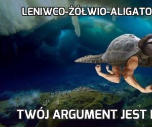 Leniwco-żółwio-aligato-człowiek