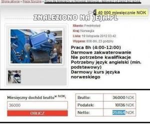 Zarobki w Norwegii