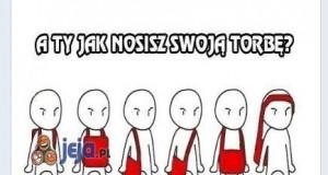 Najlepszy sposób na noszenie torby - z fanpage'a Jeja.pl