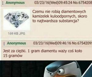 Gram diamentu na pewno jest cięższy od grama piór