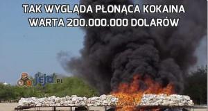 Tak wygląda płonąca kokaina warta 200.000.000 dolarów