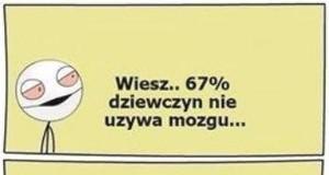 67% dziewczyn nie używa mózgu