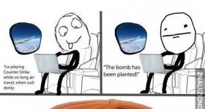 Granie w CS'a w samolocie