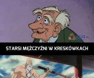 Starsi mężczyźni w kreskówkach i anime