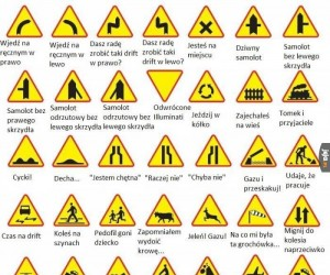 Antyporadnik kierowców - znaki ostrzegawcze