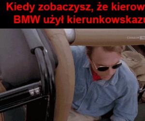 Kierowca BMW i kierunskowskaz