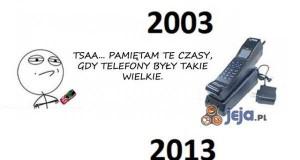 Wielkość telefonów kiedyś i dziś