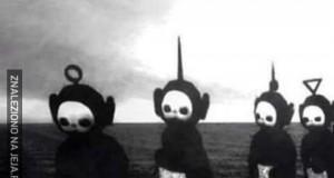 Teletubisie w czarno białych barwach