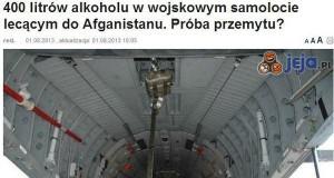 400 litrów alkoholu w wojskowym samolocie