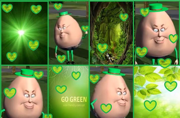 Zielony kolaż z jajkiem