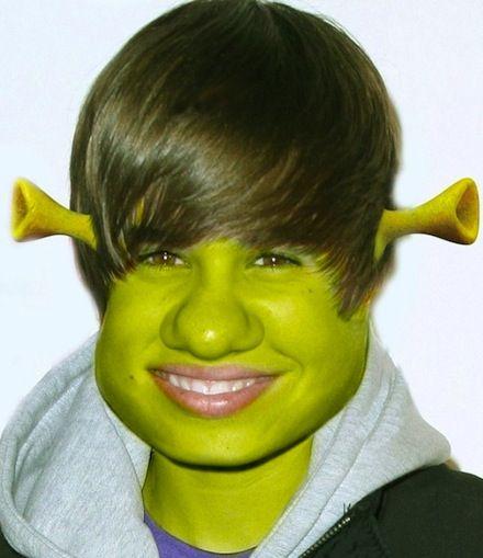 Justin Bieber jako shrek